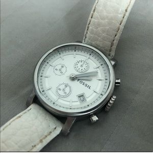Fossil Watch with White Leather Band
